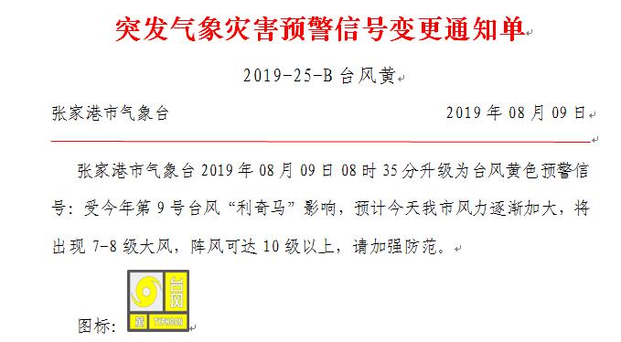 """黄色预警!台风""""利奇马""""正在逼近,张家港准备迎战强风暴雨!"""