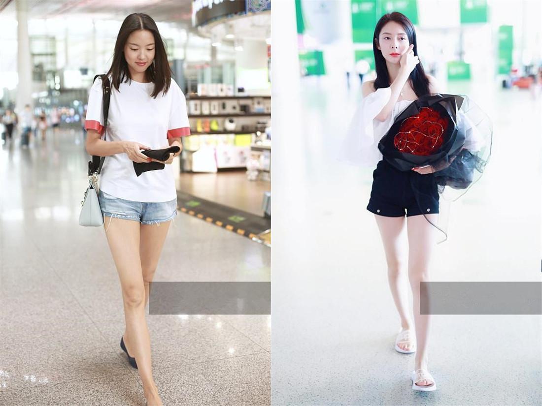 短裤还要穿平底鞋?张梓琳和傅菁机场实力上演秀腿最高境界,服了