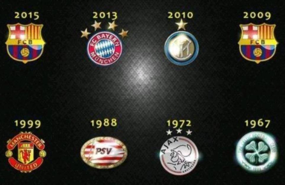 欧洲三冠王8支豪门PK:09巴萨15巴萨谁最强?曼联国米球迷不服