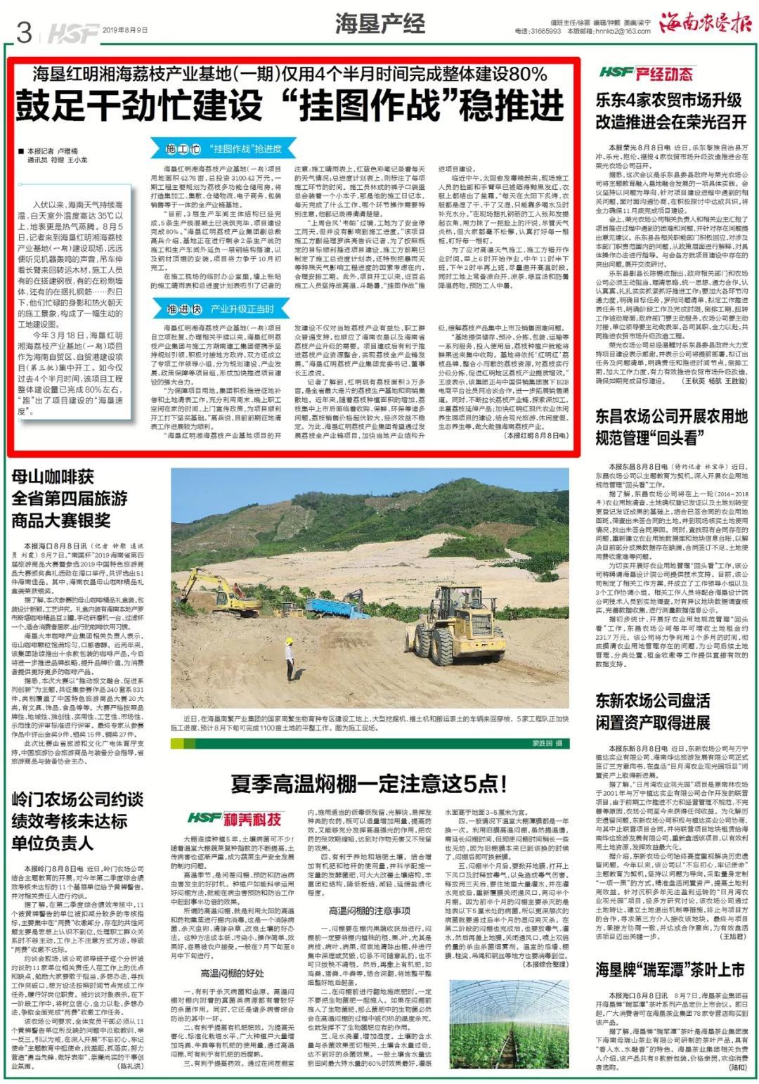 鼓足干劲!海垦红明湘海荔枝产业基地(一期)完成整体建设80%