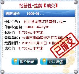 最新消息!银鼎地产底价摘得如东1909-01地块!!!