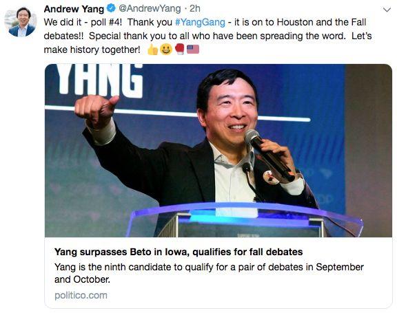 确定了!杨安泽进第三轮!向华人当总统又进一步!