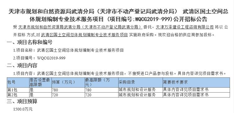 预算1500万元 | 武清将进行国土空间总体规划编制,其中涉及.....