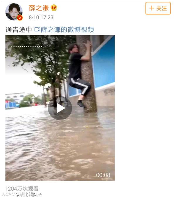 台风天艺人薛之谦爬电线杆拍视频,网友:拿