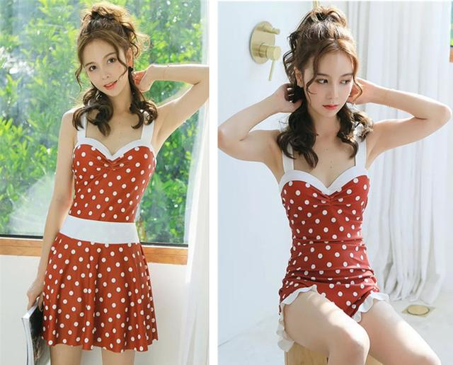 Red polka-dot one-piece swimsuit