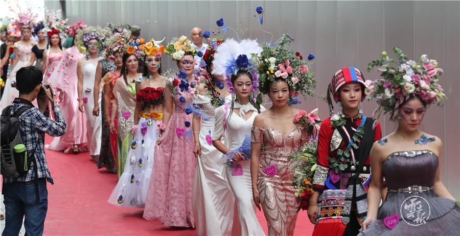 原创云南昆明,8月10日2019世界花卉模特大赛在文博会惊艳亮相,异国