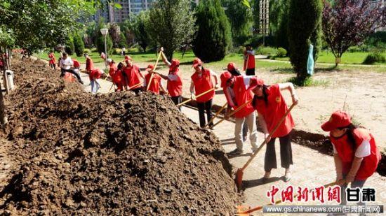 黄河上游水位回落永靖县志愿者清理道路千余方淤泥