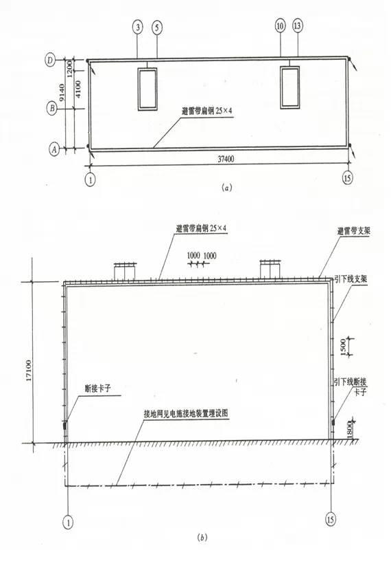 圖1-4 住宅樓建筑防雷平面圖,立面圖圖片