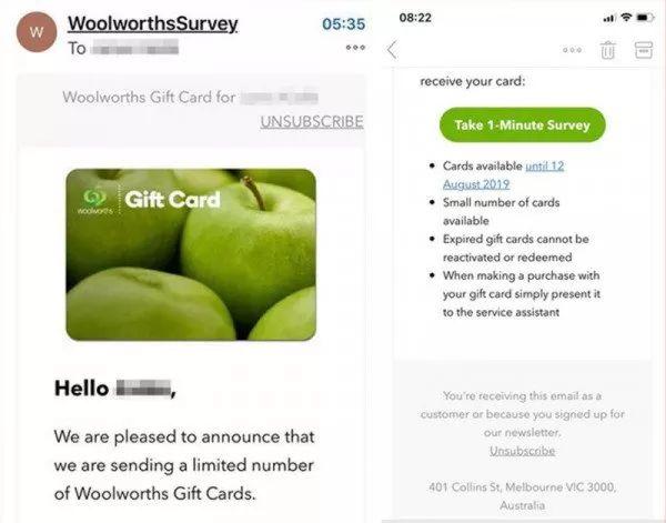 注意!假冒Woolworths的邮件谎称发放礼物卡,实则诈骗陷阱!