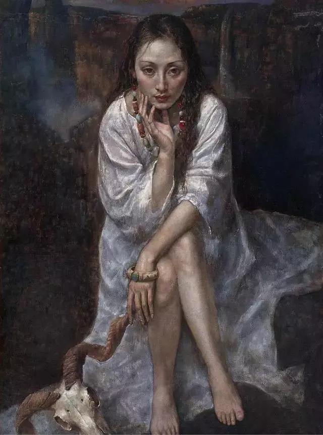他的作品细腻而感人,画中的女孩充满着古典气质