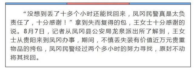 <b>一女子夜间丢失挎包,凤冈民警2小时找回...</b>