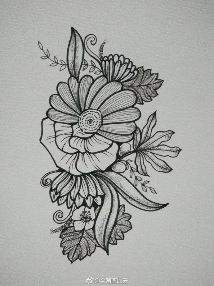 黑白线描花束简笔画