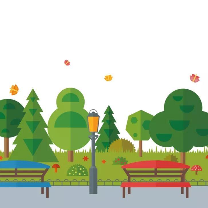 夏日公园长椅风景矢量素材