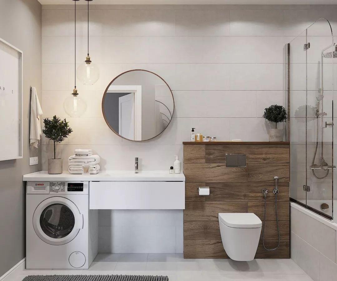 5㎡的卫生间怎么放洗衣机?35个设计方案,显高级!