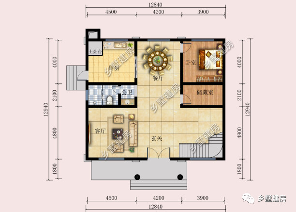13x13米二层别墅,玄关设计挑空,简约的造型极具吸引力