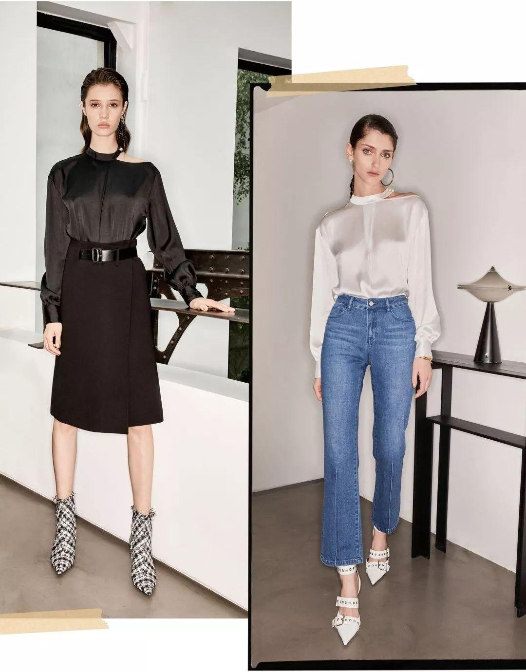 白衬衫搭配突显腰线设计的西装长裤,slogan腰头或束腰宽腰带自带时髦图片