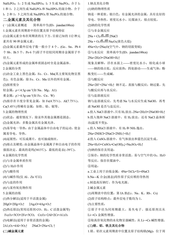 高中化學知識清單合集整理