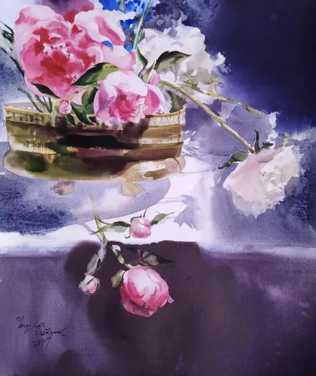 国外女画家水彩花卉欣赏:同样是女人......