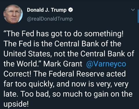 """特朗普贸易主管:美联储政策是目前白宫""""最大问题"""""""