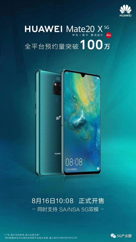 华为首款5G手机预约量破100万,明日现货发售!