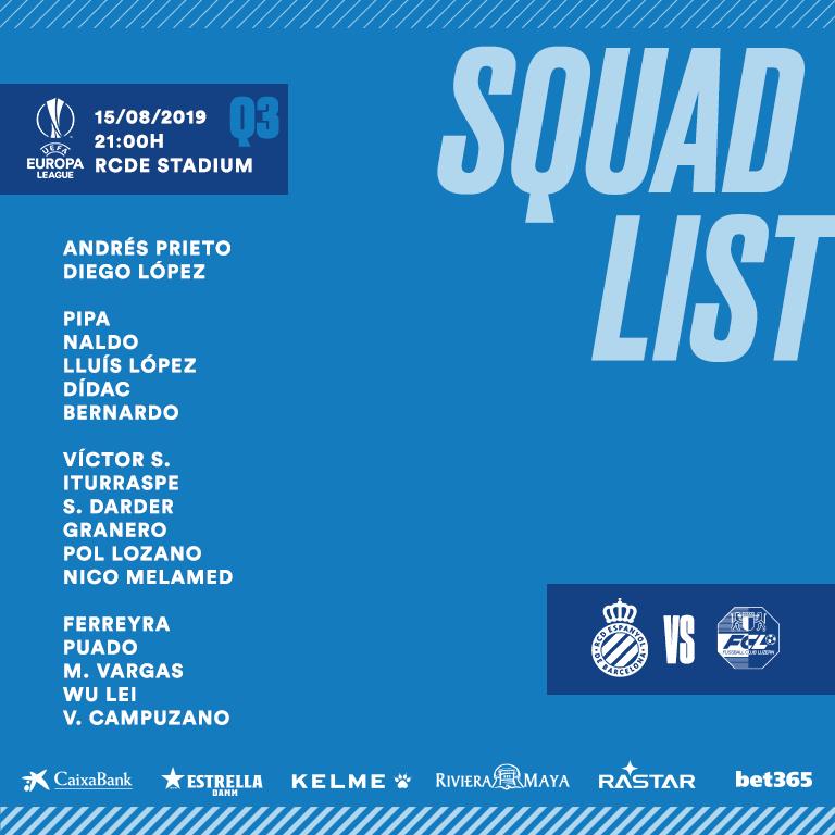 西班牙人公布欧联杯大名单:佩德罗萨缺席 武磊在列
