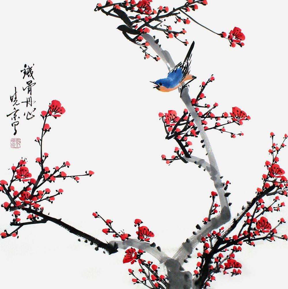 简练笔墨勾勒经典 国画花鸟牡丹图