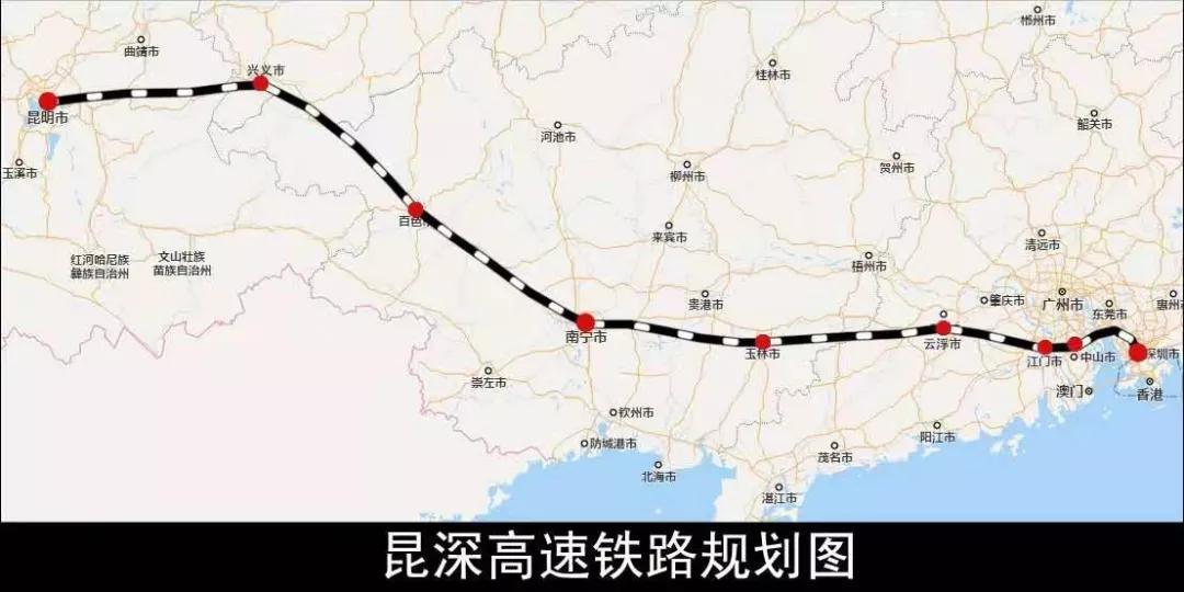 昆深高速铁路规划图