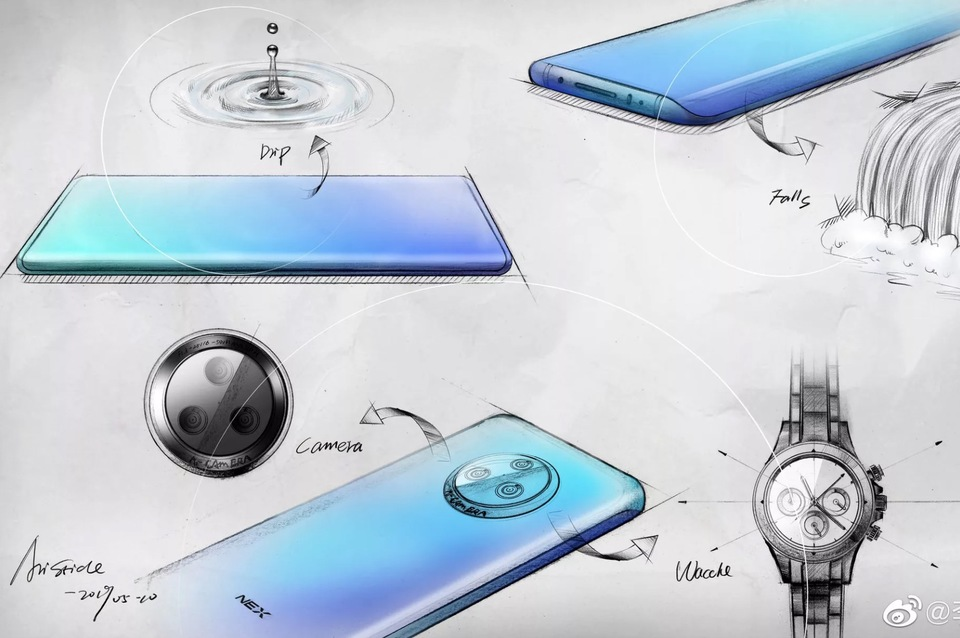 vivo展示NEX 3草图和「瀑布式」弧形玻璃