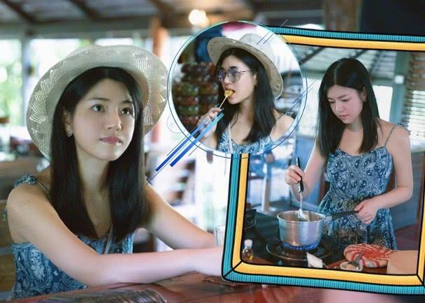 陈妍希到泰国进修厨艺,穿吊带裙显少女味,一脸认真的学做菜
