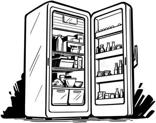 冰箱里面简笔画 水果简笔画 打开的冰箱简笔画 打开的冰箱儿童画 帝蛙网