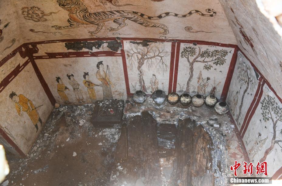太原一工地发现唐代墓葬壁画精美完整