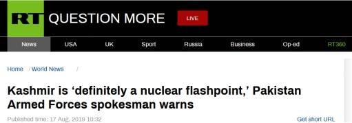 巴基斯坦军方发言人警告:克什米