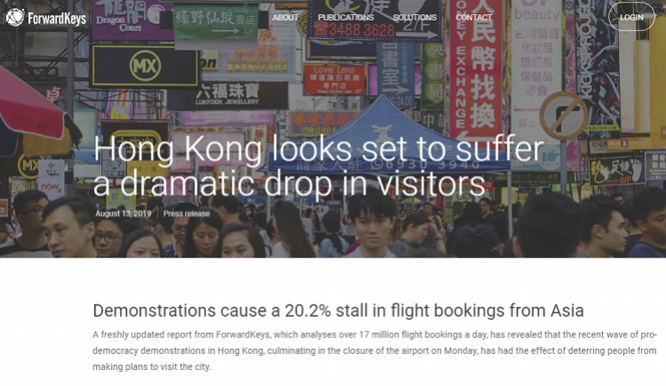 亚洲地区飞香港航班8周来预订大减!28国已发不同程度旅游提示
