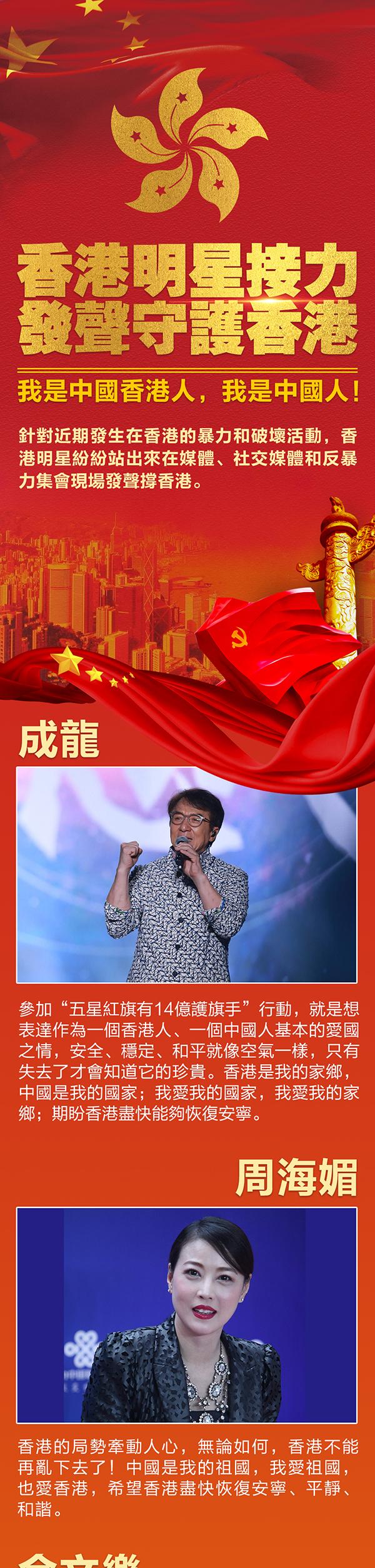 香港明星接力發聲守護香港:我是中國香港人,我是中國人