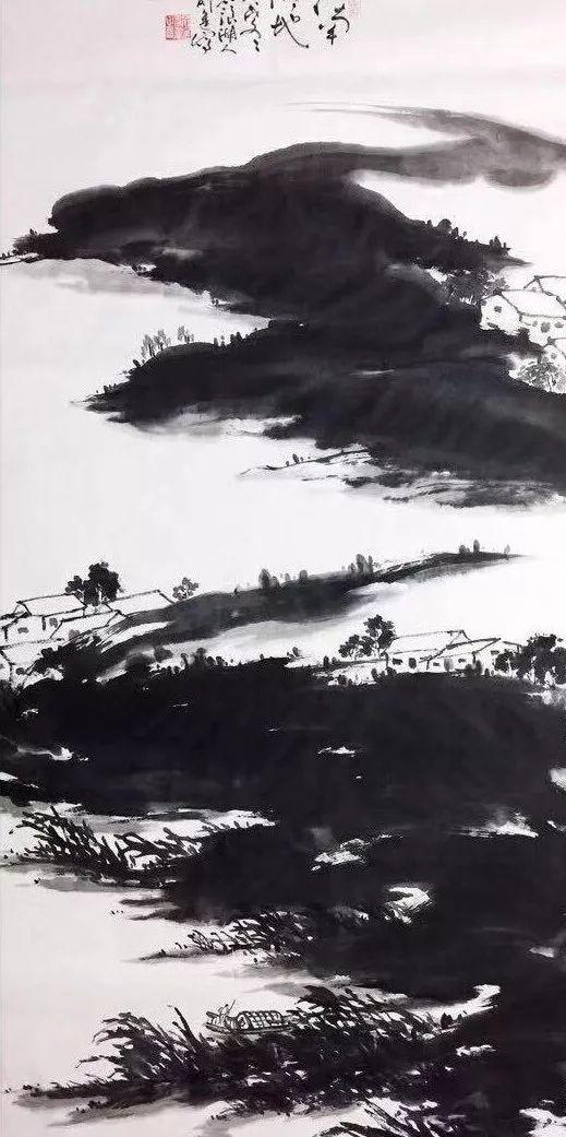 俞进先生运用从传统中出新的笔墨营造画面意境,既非萧瑟荒寒,亦非浑厚