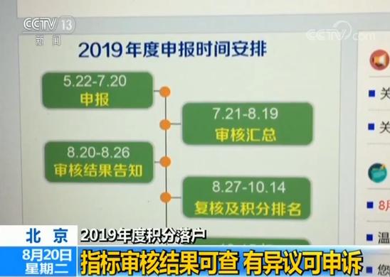 北京2019年度积分落户指标审核结果可查 有异议可申诉