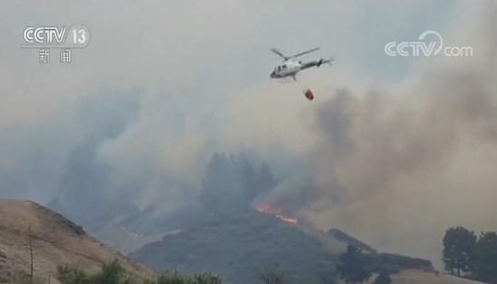 西班牙大加纳利岛山火持续 火势仍蔓延 千余消防员参与灭火