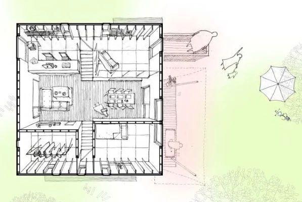 (建筑平面图)   屋外设有向外推出的二楼露台及宽敞的缘廊,作为连接户外自然的缓冲,也让家人有更多享受阳光与微风的余裕.