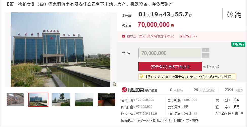 酒鬼酒河南公司将破产拍卖:曾投资2亿扶植,如今7000万起拍 _延津县