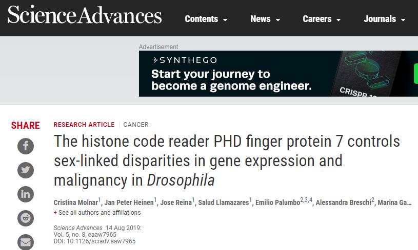 "Science子刊:癌症也会男女有别 这个蛋白竟是""幕后玩家"""