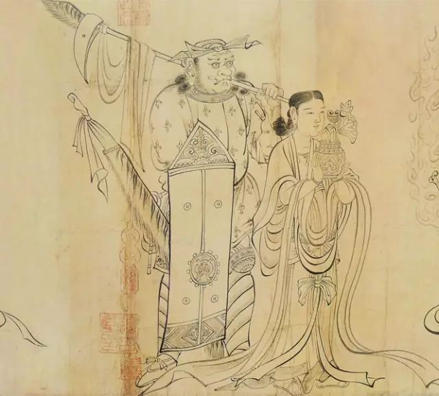 衣典_唐·吴道子《送子天王图》长卷高清赏析_绘画