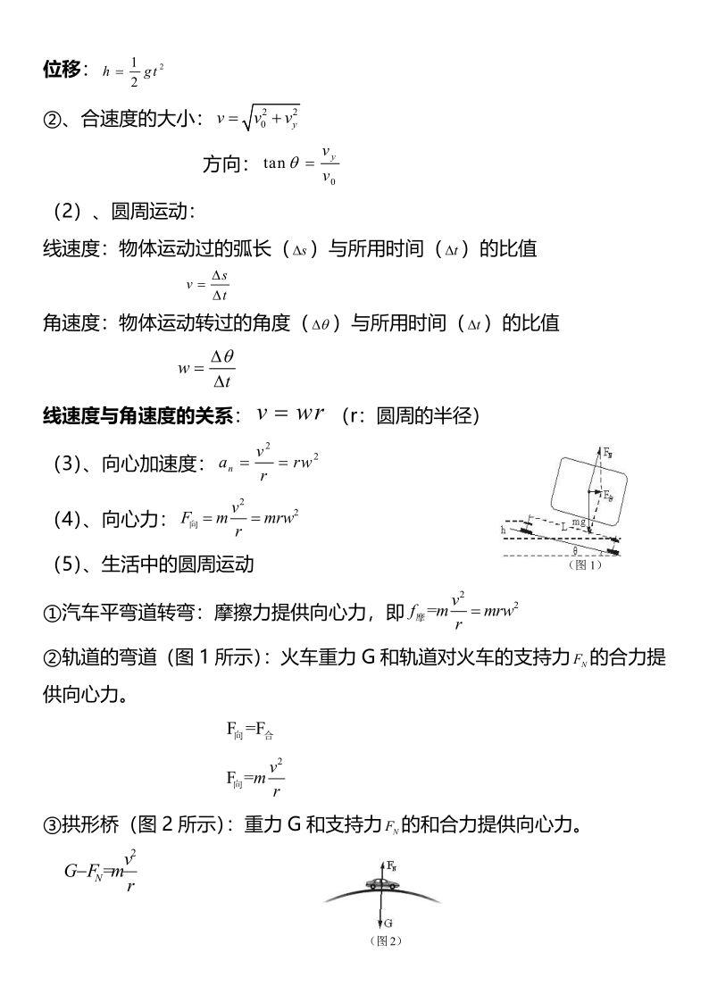 高中物理必修二公式大全