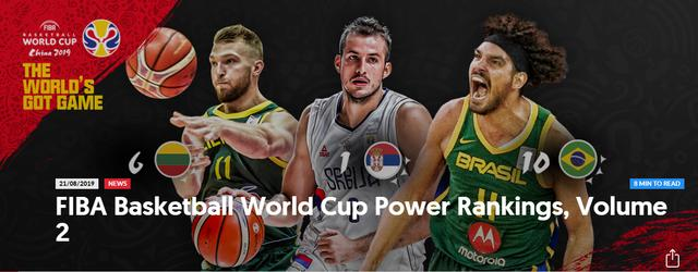 男篮世界杯最新排名,美国队掉至第二,中国排名14,日韩垫底