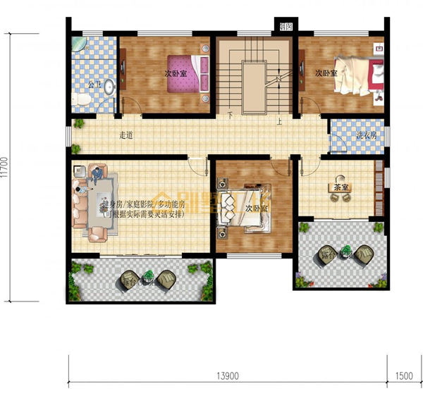中式复式别墅设计,沉稳大气多露台,人字型屋顶古朴别致,内部功能齐全图片