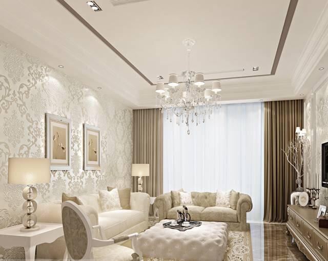 而这款客厅壁纸采用的是欧式风格,铺贴之后不会显得奢华和张扬,也不显