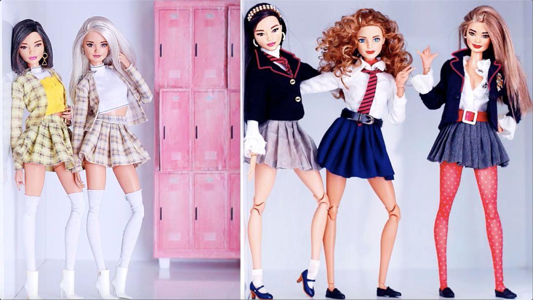 自己动手给芭比娃娃做一条学生裙吧