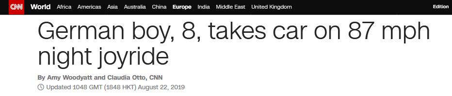 初生牛犊不怕虎?德国8岁男孩夜间偷开母亲车,兜风狂飙140码_德国新闻_德国中文网