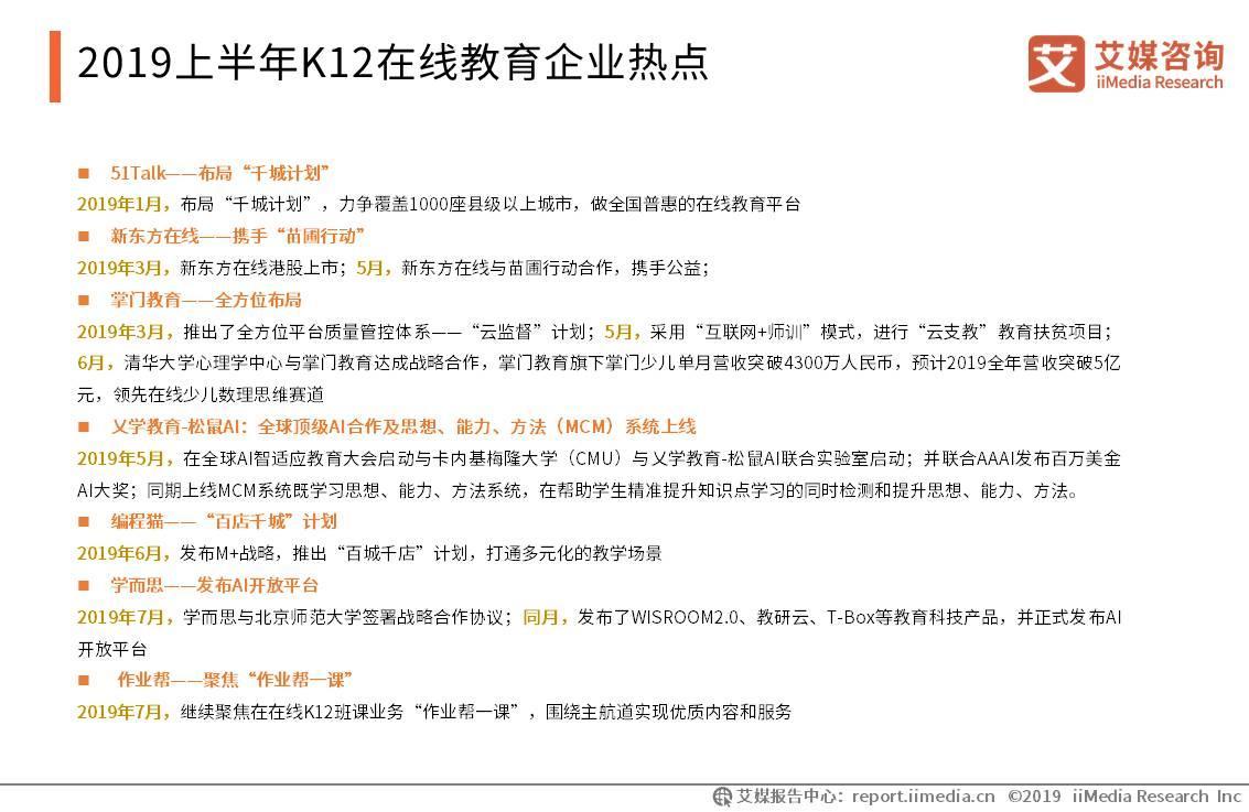 2019上半年中国K12在线教育行业研究报告