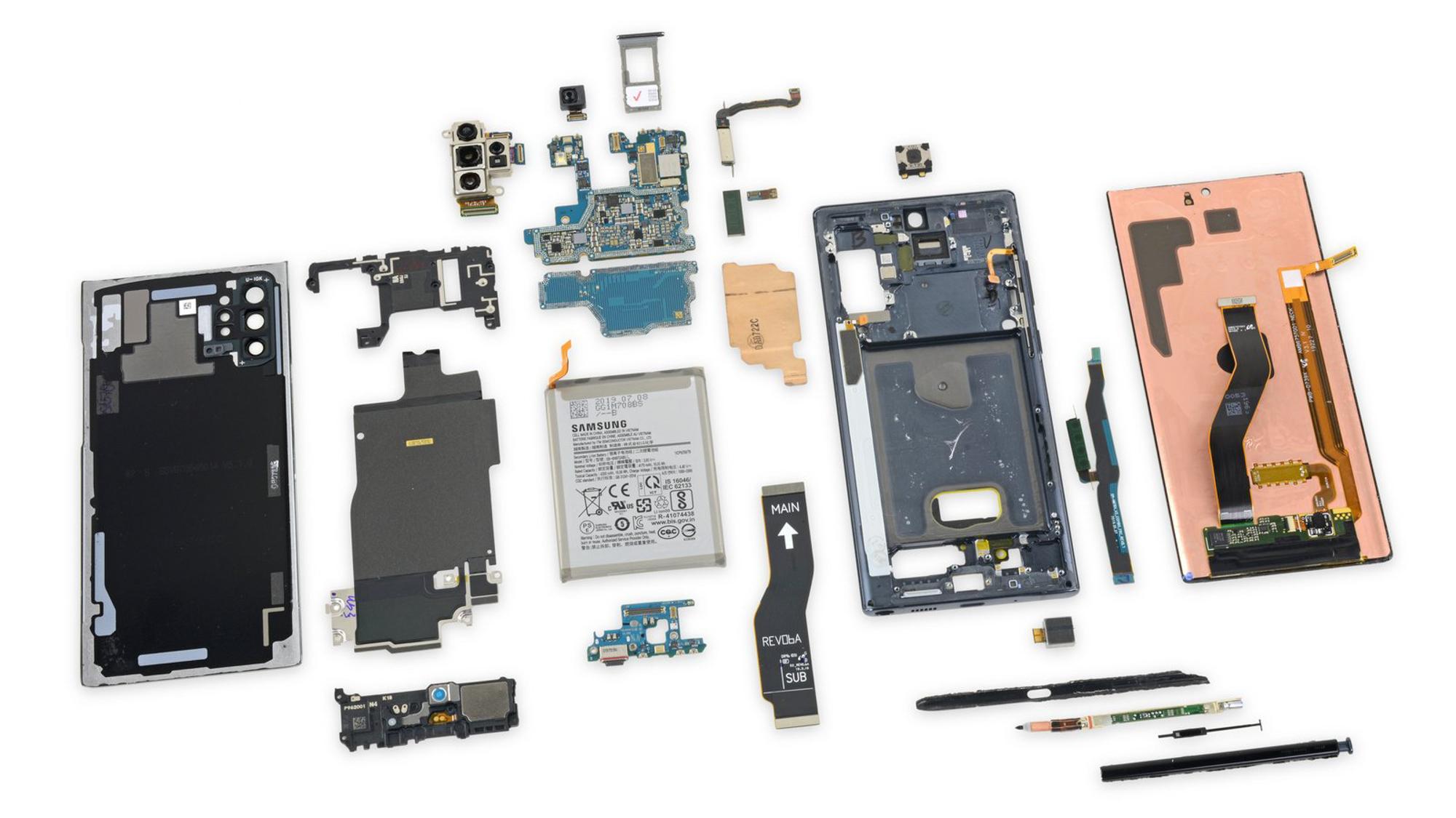 iFixit 拆解了三星 Note10,证实了隐藏式听筒和新线性马达的设计