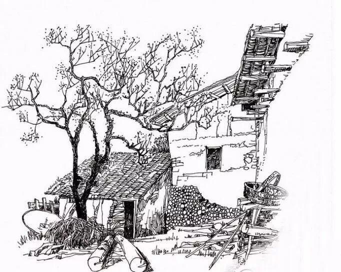 王骏乡村房屋速写风景画欣赏